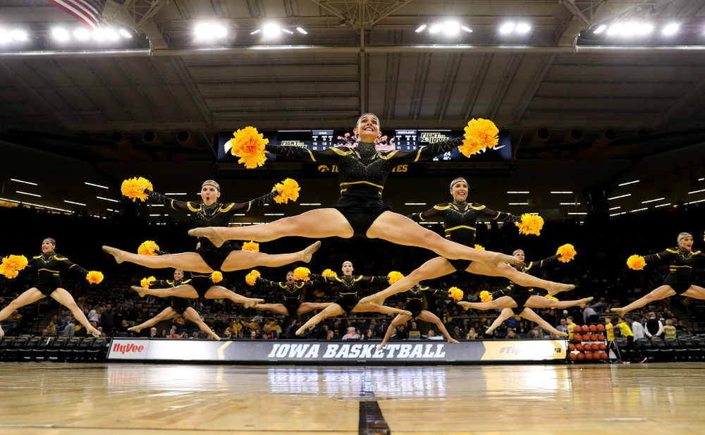 The Iowa Dance Team performs at halftime against the Maryland Terrapins Friday, January 10, 2020 at Carver-Hawkeye Arena. (Brian Ray/hawkeyesports.com)