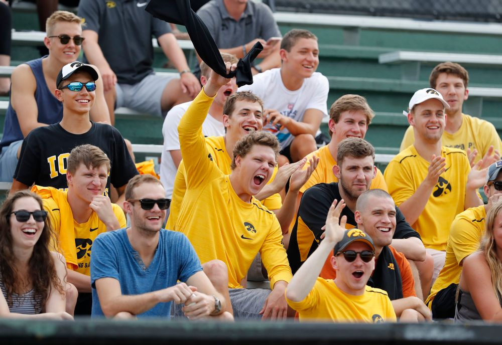 Members of the swimming and diving team cheer during the Iowa Student Athlete Kickoff Kickball game  Sunday, August 19, 2018 at Duane Banks Field. (Brian Ray/hawkeyesports.com)