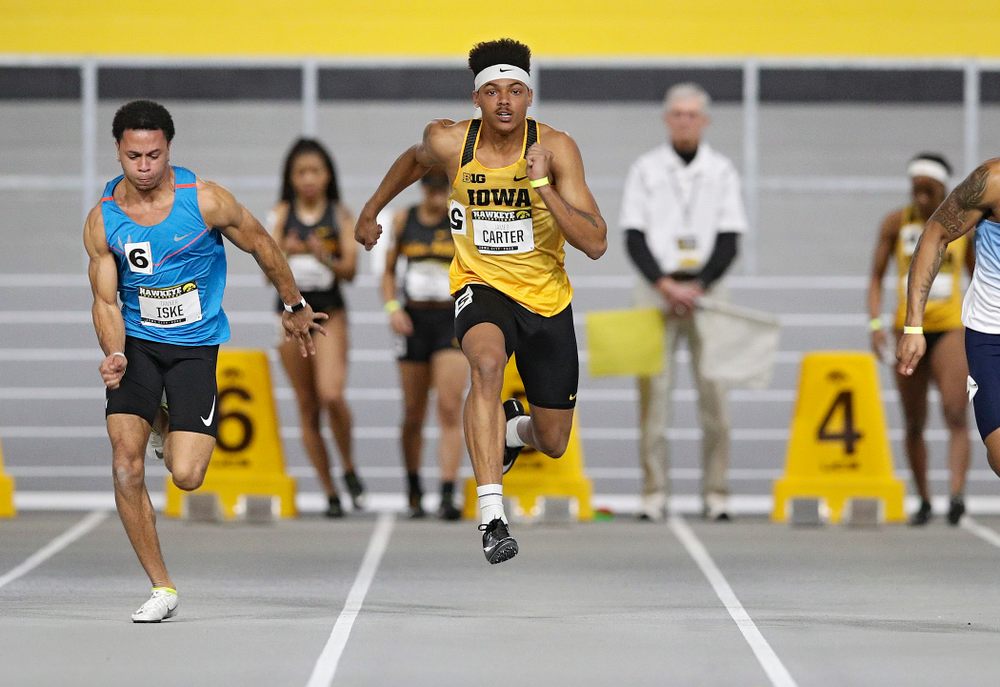 Iowa's James Carter runs in the men's 60 meter dash prelim event during the Hawkeye Invitational at the Recreation Building in Iowa City on Saturday, January 11, 2020. (Stephen Mally/hawkeyesports.com)
