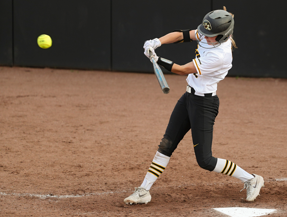 Iowa second baseman Aralee Bogar (2) hits a double during the fifth inning of their game against Ohio State at Pearl Field in Iowa City on Friday, May. 3, 2019. (Stephen Mally/hawkeyesports.com)