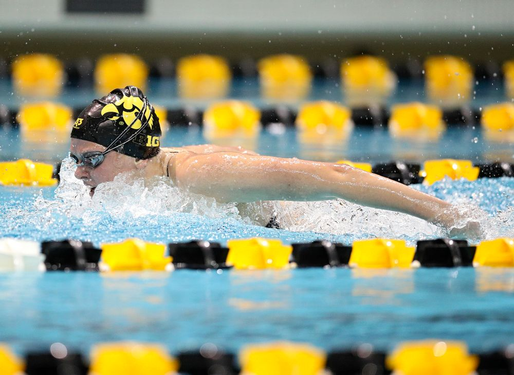 Iowa's Sarah Schemmel swims the butterfly section in the women's 400 yard medley relay event during their meet at the Campus Recreation and Wellness Center in Iowa City on Friday, February 7, 2020. (Stephen Mally/hawkeyesports.com)