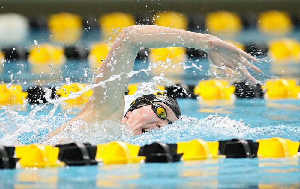 Iowa's Allyssa Fluit swims the freestyle section in the women's 400 yard medley relay event during their meet at the Campus Recreation and Wellness Center in Iowa City on Friday, February 7, 2020. (Stephen Mally/hawkeyesports.com)
