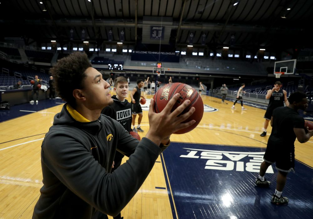Iowa Hawkeyes forward Cordell Pemsl (35) during practice at Hinkle Fieldhouse  Wednesday, March 11, 2020 in Indianapolis. (Brian Ray/hawkeyesports.com)