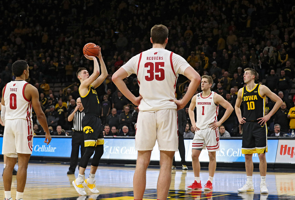 Iowa Hawkeyes guard CJ Fredrick (5) makes a free throw during the second half of their game at Carver-Hawkeye Arena in Iowa City on Monday, January 27, 2020. (Stephen Mally/hawkeyesports.com)