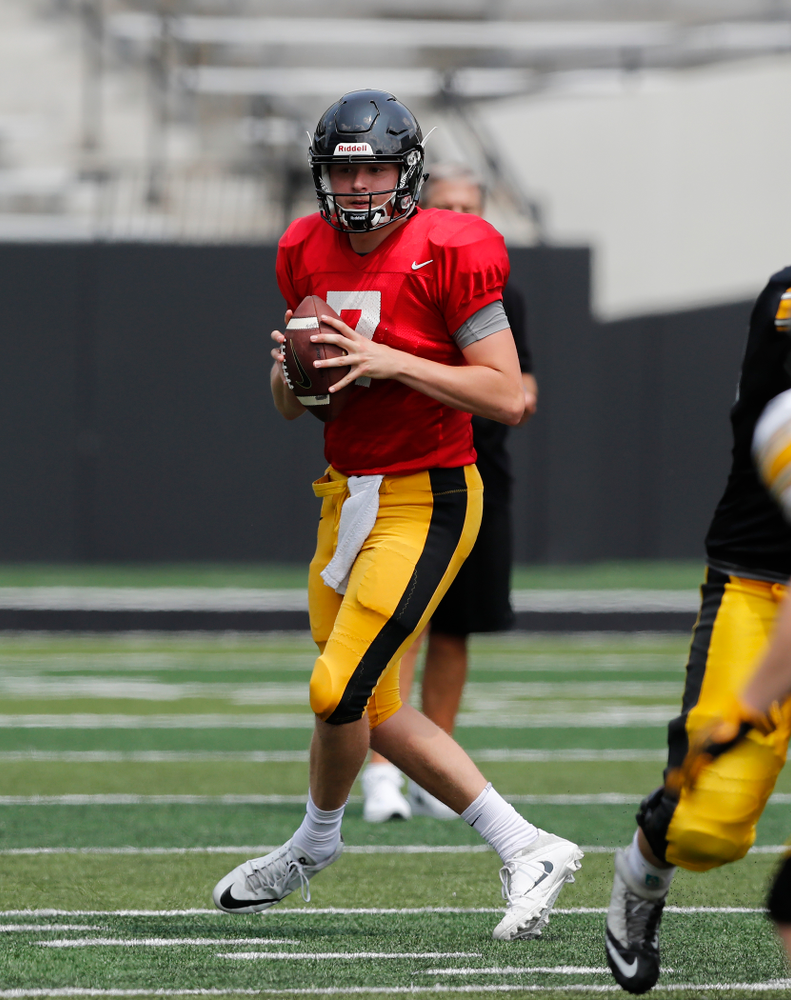Iowa Hawkeyes quarterback Spencer Petras (7) during Kids Day Saturday, August 11, 2018 at Kinnick Stadium. (Brian Ray/hawkeyesports.com)