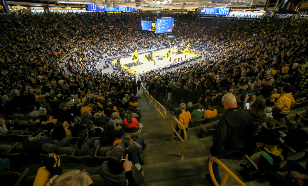 The Iowa Hawkeyes take the court for the second half of their second round game in the 2019 NCAA Women's Basketball Tournament at Carver Hawkeye Arena in Iowa City on Sunday, Mar. 24, 2019. (Stephen Mally for hawkeyesports.com)