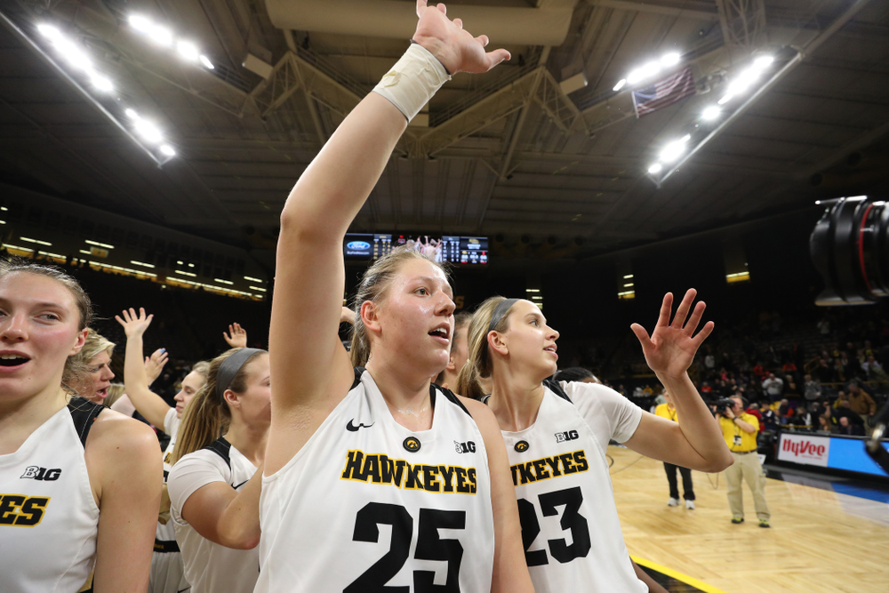Iowa Hawkeyes forward/center Monika Czinano (25) against the Illinois Fighting Illini Thursday, February 14, 2019 at Carver-Hawkeye Arena. (Brian Ray/hawkeyesports.com)