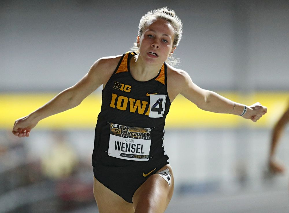 Iowa's Payton Wensel runs the women's 200 meter dash event during the Larry Wieczorek Invitational at the Recreation Building in Iowa City on Friday, January 17, 2020. (Stephen Mally/hawkeyesports.com)