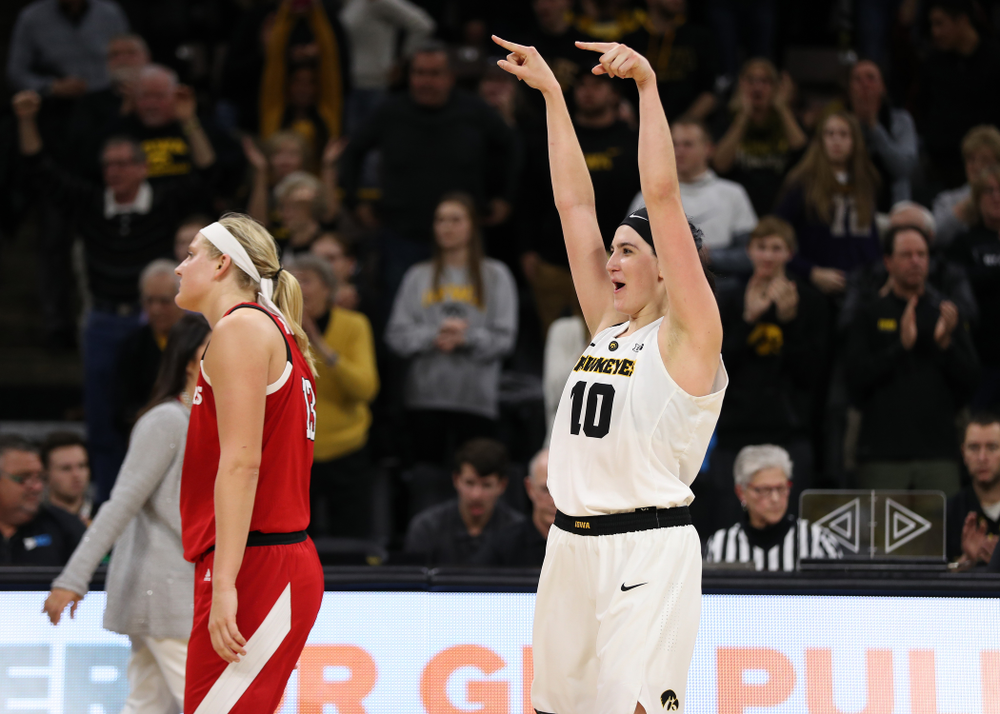 Iowa Hawkeyes forward Megan Gustafson (10) celebrates their victory against the Nebraska Cornhuskers Thursday, January 3, 2019 at Carver-Hawkeye Arena. (Brian Ray/hawkeyesports.com)