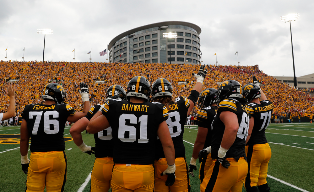 The Hawkeyes wave to the Stead Family Children's Hospital during their game against the Northern Illinois Huskies Saturday, September 1, 2018 at Kinnick Stadium. (Brian Ray/hawkeyesports.com)