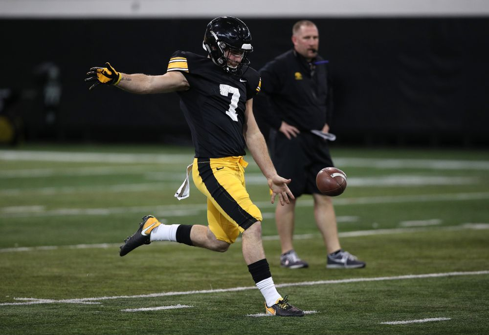 Iowa Hawkeyes quarterback Spencer Petras (7) during preparation for the 2019 Outback Bowl Wednesday, December 19, 2018 at the Hansen Football Performance Center. (Brian Ray/hawkeyesports.com)