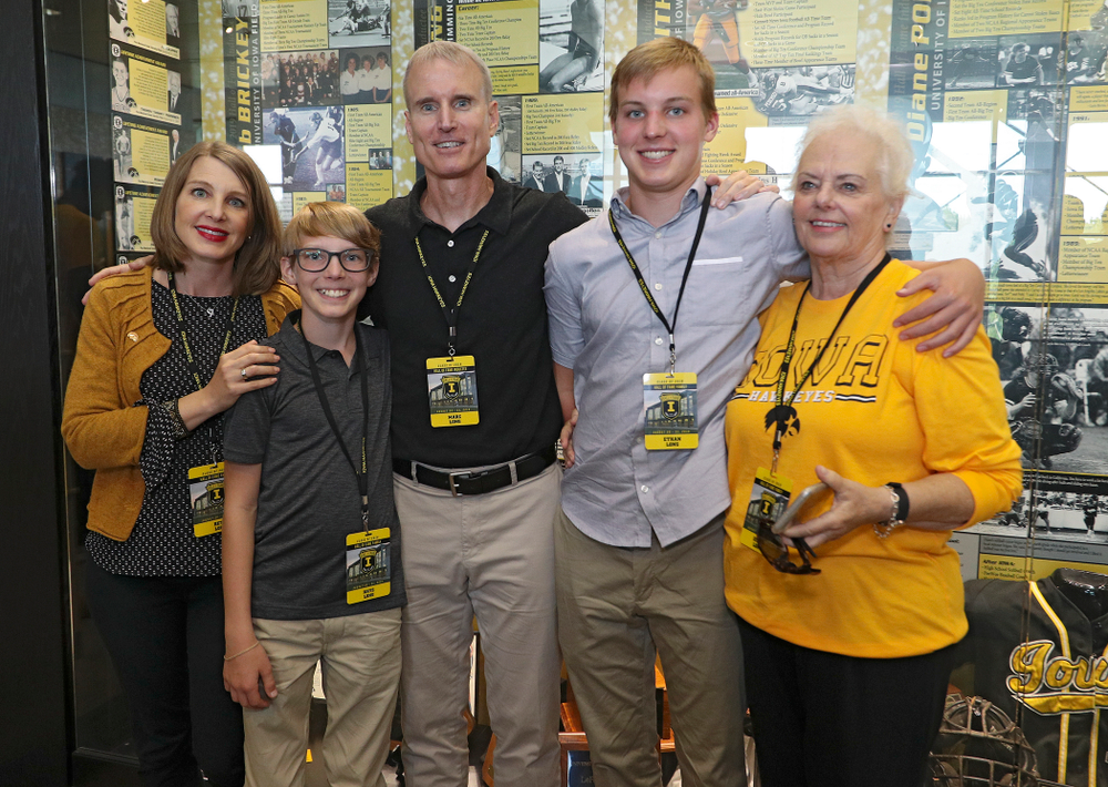 2019 University of Iowa Athletics Hall of Fame inductee Marc Long with his family at the University of Iowa Athletics Hall of Fame in Iowa City on Friday, Aug 30, 2019. (Stephen Mally/hawkeyesports.com)