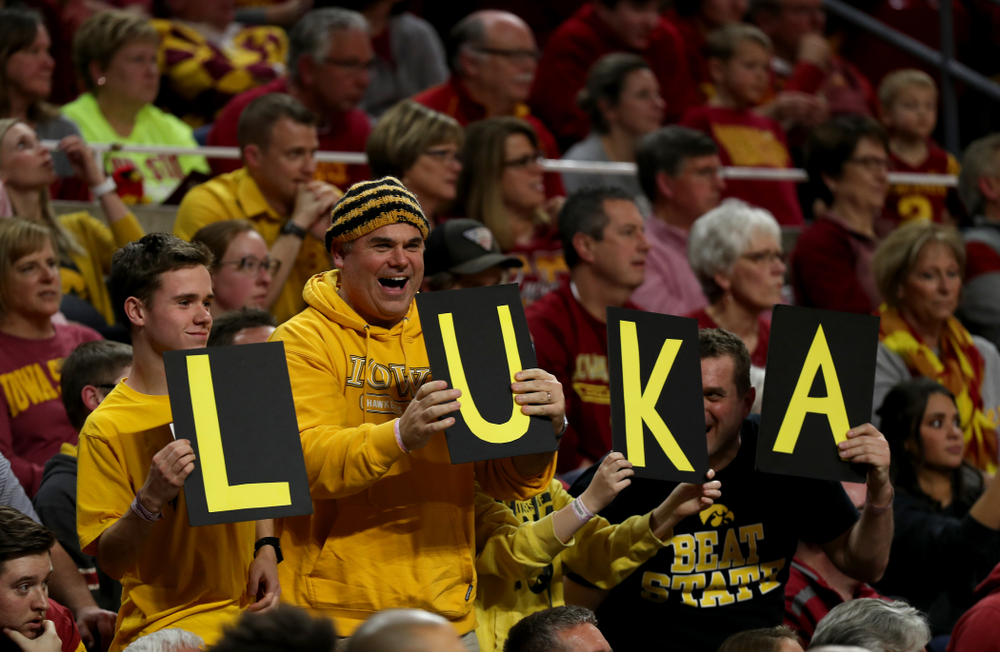 Fans cheer on the forward Luka Garza (55) against the Iowa State Cyclones Thursday, December 12, 2019 at Hilton Coliseum in Ames, Iowa(Brian Ray/hawkeyesports.com)
