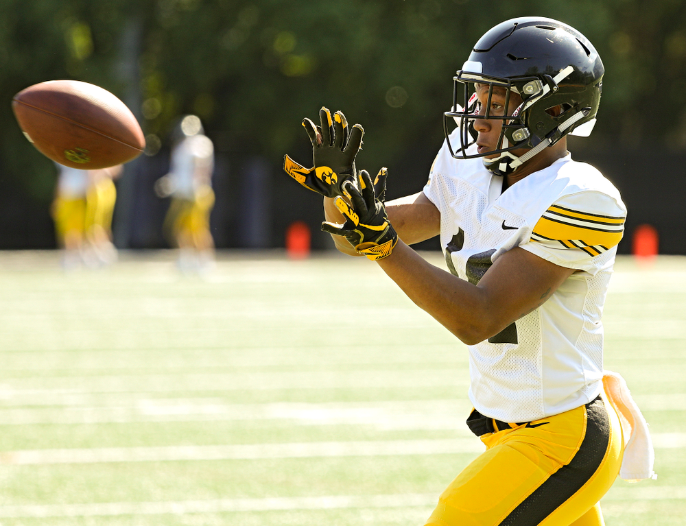 Iowa Hawkeyes defensive back Daraun McKinney (14) runs a drill during Fall Camp Practice #5 at the Hansen Football Performance Center in Iowa City on Tuesday, Aug 6, 2019. (Stephen Mally/hawkeyesports.com)