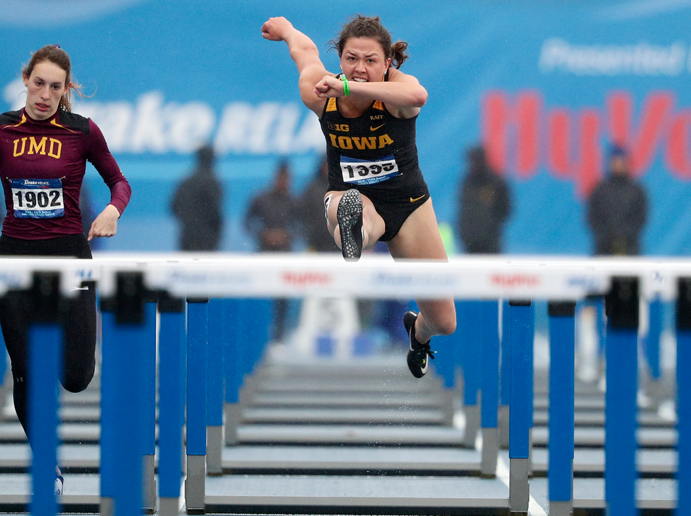 Iowa's Jenny Kimbro runs the women's 100 meter hurdles event during the third day of the Drake Relays at Drake Stadium in Des Moines on Saturday, Apr. 27, 2019. (Stephen Mally/hawkeyesports.com)