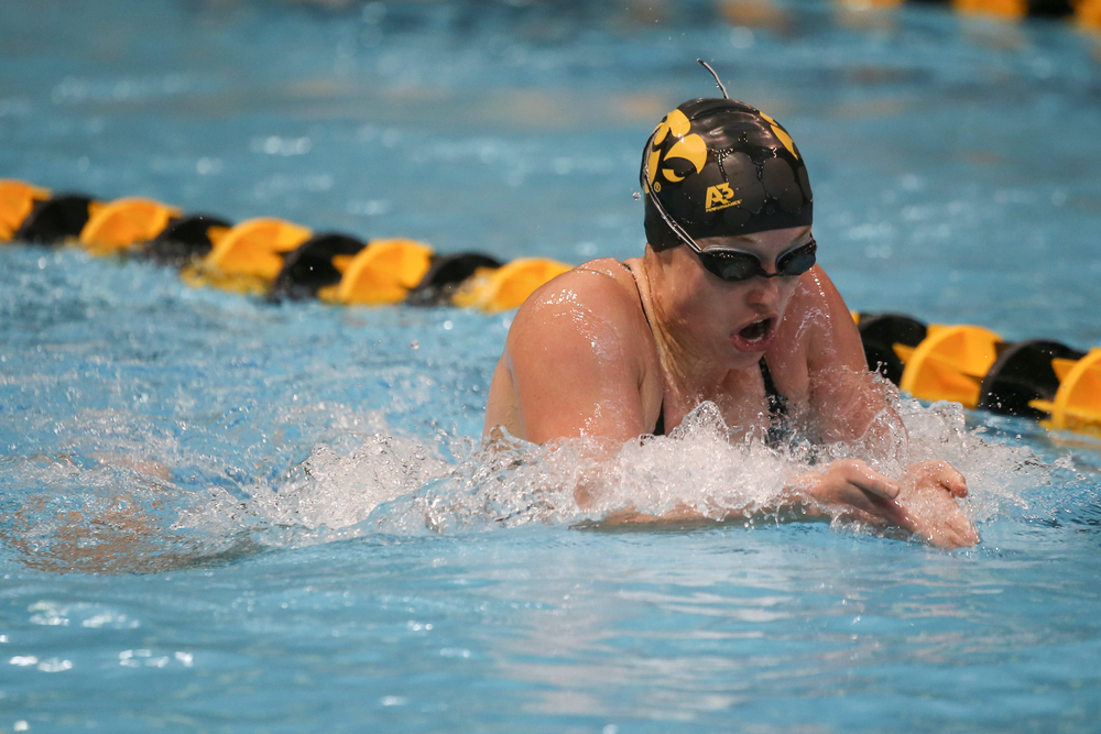 Iowa's Kelsey Drake swims the 200-yard individual medley during the Iowa swimming and diving meet vs Notre Dame and Illinois on Saturday, January 11, 2020 at the Campus Recreation and Wellness Center. (Lily Smith/hawkeyesports.com)