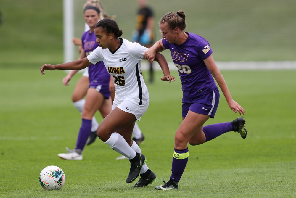 Iowa Hawkeyes midfielder/forward Melina Hegelheimer (26) during a 6-1 win over Northern Iowa Sunday, August 25, 2019 at the Iowa Soccer Complex. (Brian Ray/hawkeyesports.com)