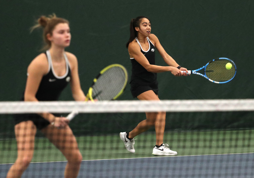 Iowa's Michelle Bacalla and Cloe Ruettte play a doubles match against the Penn State Nittany Lions Sunday, February 24, 2019 at the Hawkeye Tennis and Recreation Complex. (Brian Ray/hawkeyesports.com)