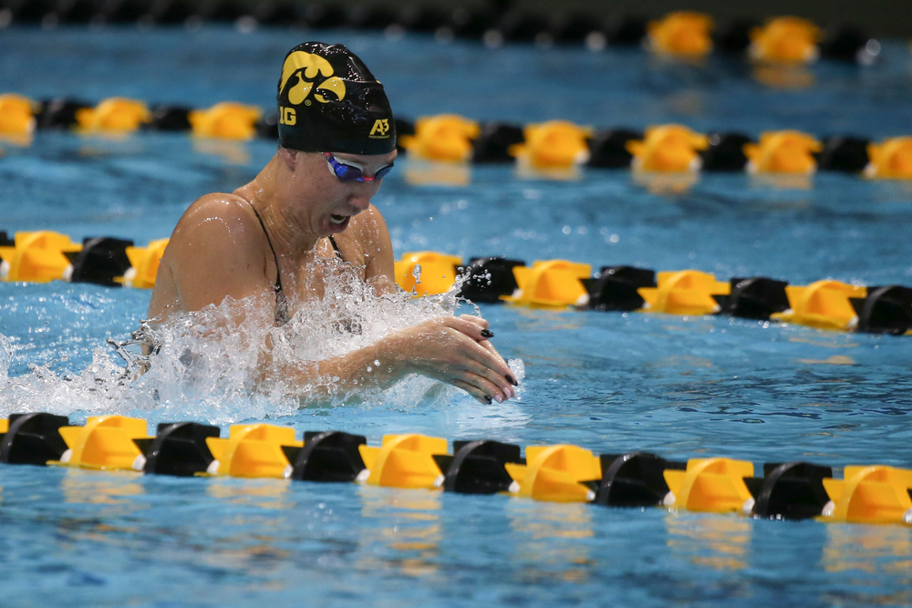 Iowa's Zoe Mekus swims the 200-yard breaststroke during the Iowa swimming and diving meet vs Notre Dame and Illinois on Saturday, January 11, 2020 at the Campus Recreation and Wellness Center. (Lily Smith/hawkeyesports.com)