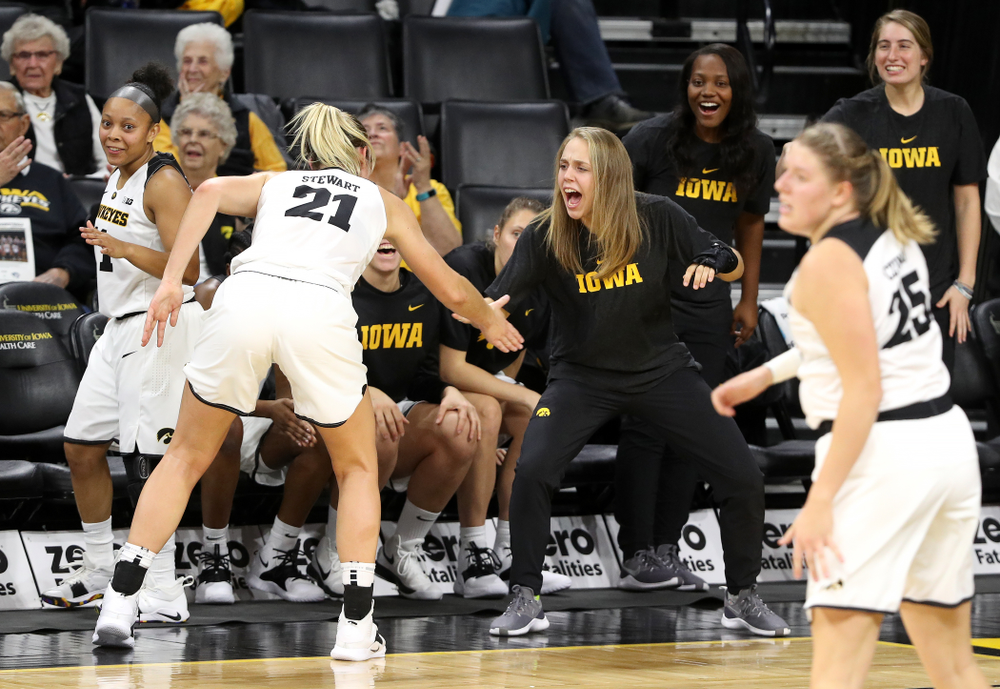 Iowa Hawkeyes forward Hannah Stewart (21) and guard Kathleen Doyle (22) against Dakota Wesleyan University Tuesday, November 6, 2018 at Carver-Hawkeye Arena. (Brian Ray/hawkeyesports.com)