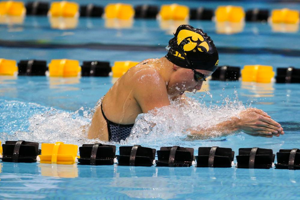 Iowa's Aleksandra Olesiak during Iowa swim and dive vs Minnesota on Saturday, October 26, 2019 at the Campus Wellness and Recreation Center. (Lily Smith/hawkeyesports.com)