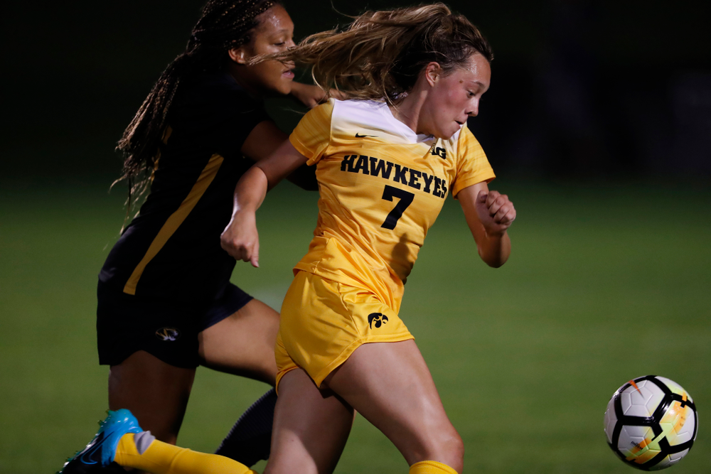 Iowa Hawkeyes Skylar Alward (7) against the Missouri Tigers Friday, August 17, 2018 at the Iowa Soccer Complex. (Brian Ray/hawkeyesports.com)