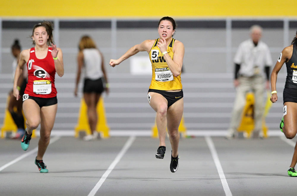 Iowa's Jenny Kimbro runs in the women's 60 meter dash prelim event during the Hawkeye Invitational at the Recreation Building in Iowa City on Saturday, January 11, 2020. (Stephen Mally/hawkeyesports.com)