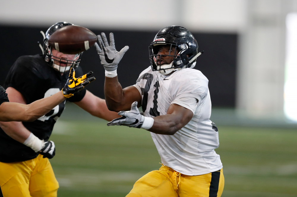 Iowa Hawkeyes linebacker Aaron Mends (31) during spring practice  Saturday, March 31, 2018 at the Hansen Football Performance Center. (Brian Ray/hawkeyesports.com)