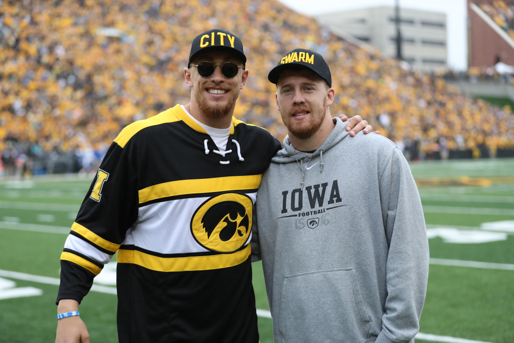George Kittle and C.J. Beathard against Middle Tennessee State Saturday, September 28, 2019 at Kinnick Stadium. (Max Allen/hawkeyesports.com)