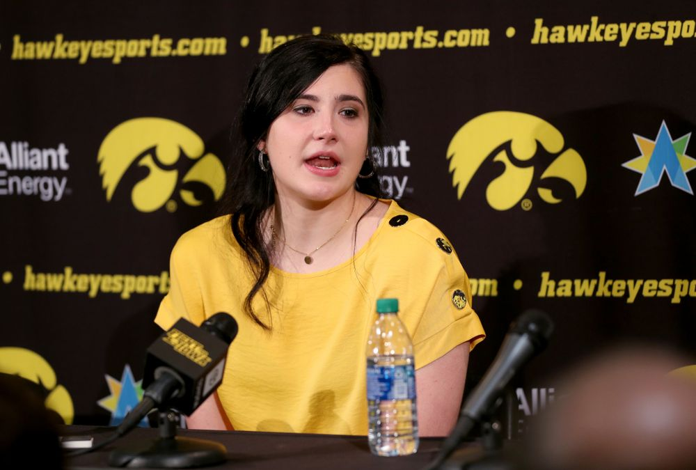 Megan Gustafson talks with reporters following a jersey retirement ceremony Sunday, January 26, 2020 at Carver-Hawkeye Arena. (Brian Ray/hawkeyesports.com)