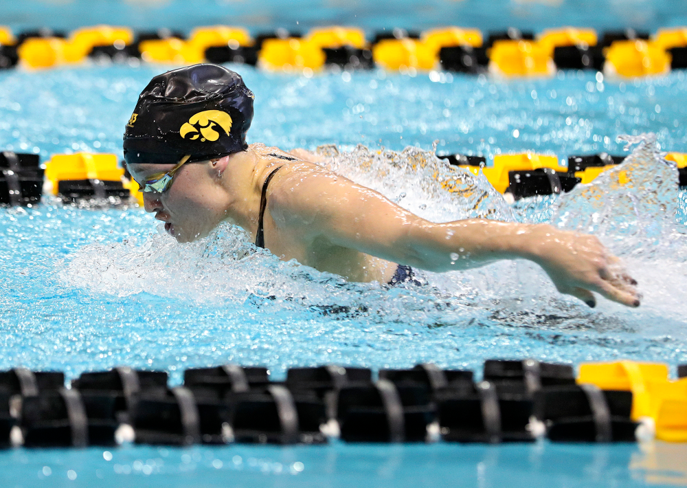 Iowa's Grace Reeder swims in the women's 200 yard butterfly preliminary event during the 2020 Women's Big Ten Swimming and Diving Championships at the Campus Recreation and Wellness Center in Iowa City on Saturday, February 22, 2020. (Stephen Mally/hawkeyesports.com)
