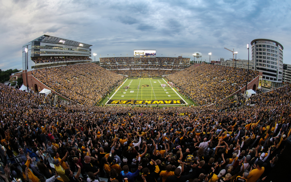Fans wave to the kids in the Stead Family ChildrenÕs Hospital at the end of the first quarter against the Miami RedHawks Saturday, August 31, 2019 at Kinnick Stadium in Iowa City. (Brian Ray/hawkeyesports.com)