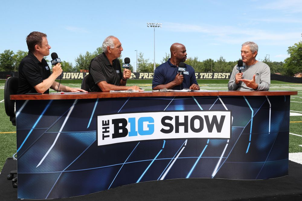 Iowa Hawkeyes head coach Kirk Ferentz on the set of the BTN Tailgate Tour following fall camp Practice No. 16 Tuesday, August 20, 2019 at the Ronald D. and Margaret L. Kenyon Football Practice Facility. (Brian Ray/hawkeyesports.com)