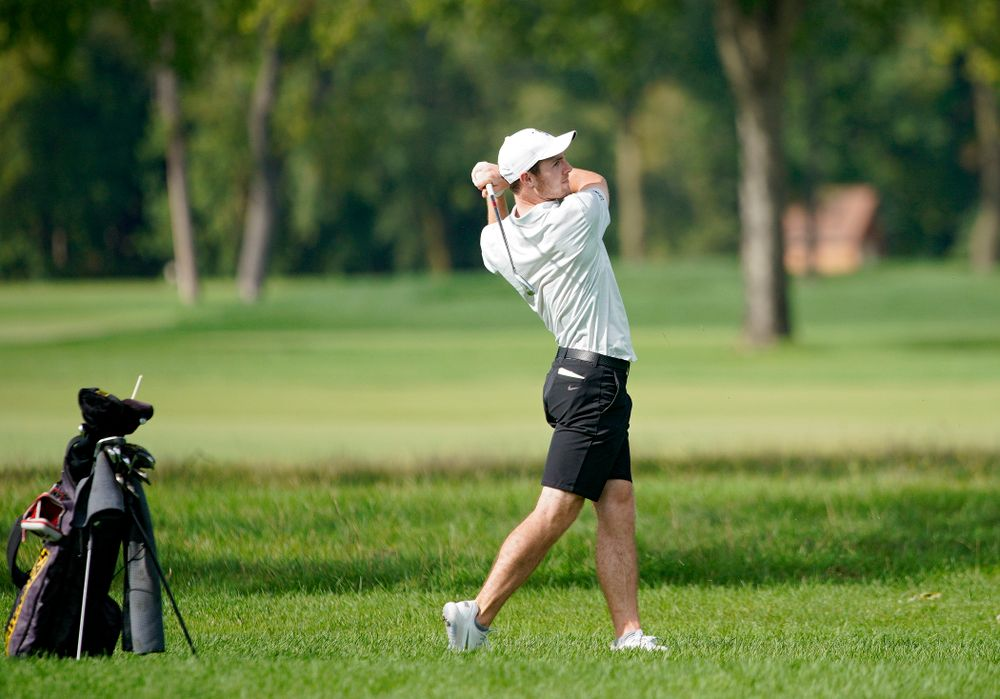 Iowa's Jake Rowe drives a shot during the second day of the Golfweek Conference Challenge at the Cedar Rapids Country Club in Cedar Rapids on Monday, Sep 16, 2019. (Stephen Mally/hawkeyesports.com)