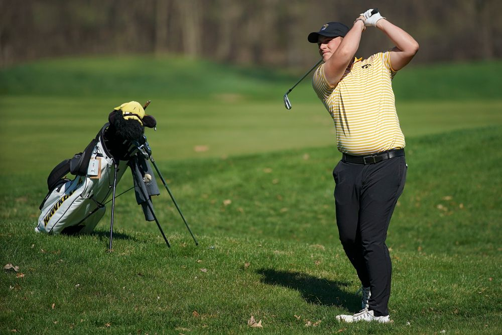 Iowa's Alex Schaake hits during the third round of the Hawkeye Invitational at Finkbine Golf Course in Iowa City on Sunday, Apr. 21, 2019. (Stephen Mally/hawkeyesports.com)