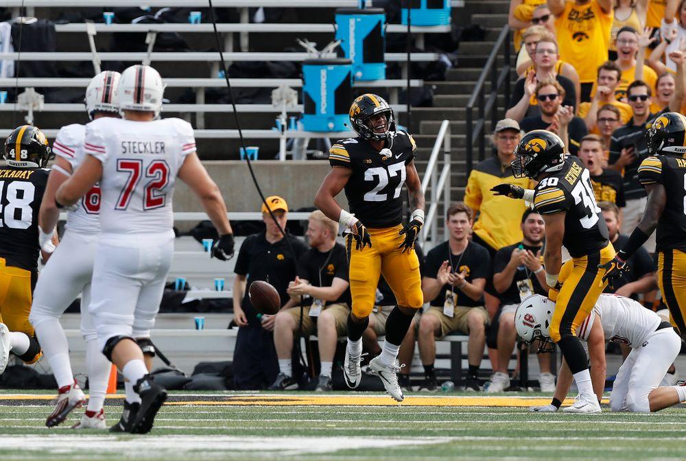 Iowa Hawkeyes defensive back Amani Hooker (27) interceptss a pass against the Northern Illinois Huskies Saturday, September 1, 2018 at Kinnick Stadium. (Brian Ray/hawkeyesports.com)