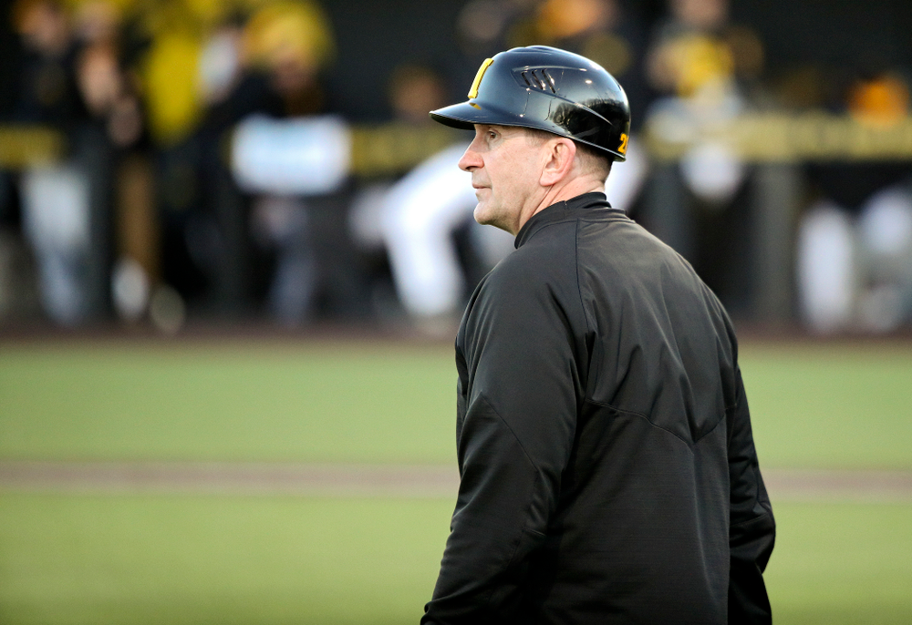 Iowa Hawkeyes head coach Rick Heller looks on during the fifth inning of their game at Duane Banks Field in Iowa City on Tuesday, March 3, 2020. (Stephen Mally/hawkeyesports.com)