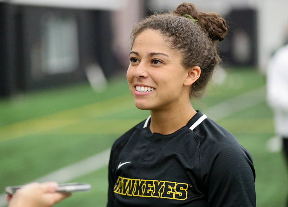 Iowa infielder/outfielder Lea Thompson (7) answers questions during Iowa Softball Media Day at the Hawkeye Tennis and Recreation Complex in Iowa City on Thursday, January 30, 2020. (Stephen Mally/hawkeyesports.com)