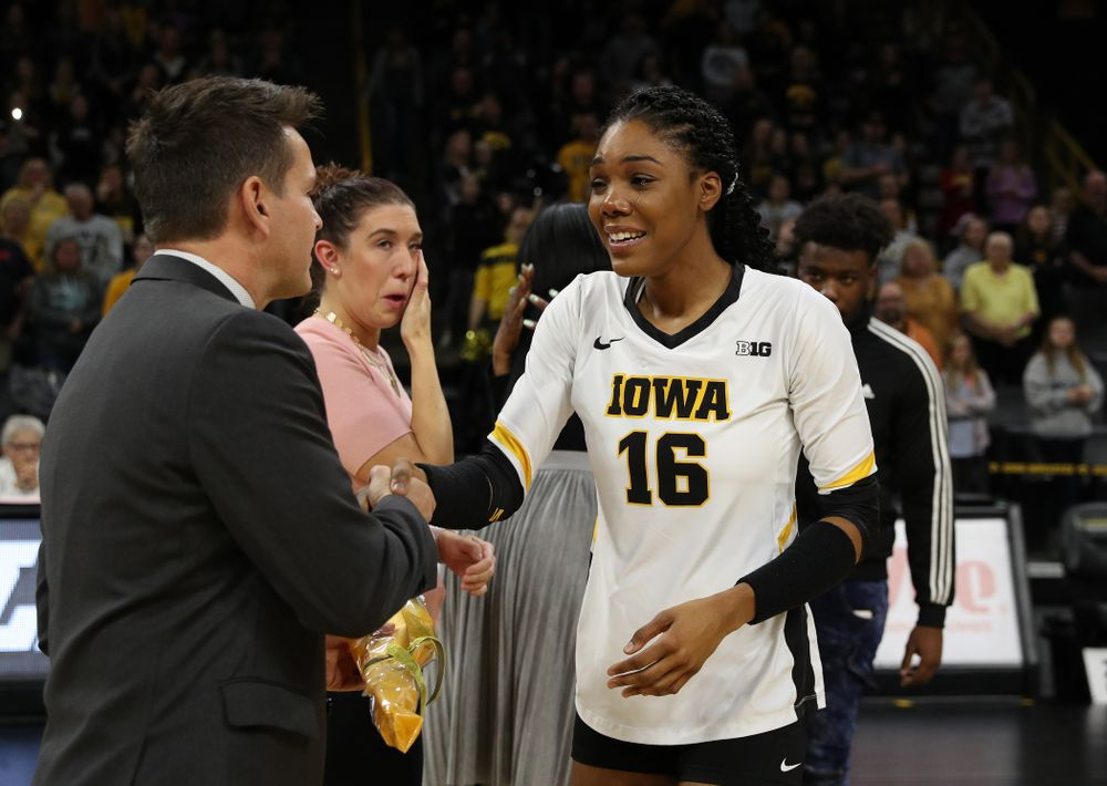 Iowa Hawkeyes outside hitter Taylor Louis (16 during senior day activities before their game against the Ohio State Buckeyes Saturday, November 24, 2018 at Carver-Hawkeye Arena. (Brian Ray/hawkeyesports.com)