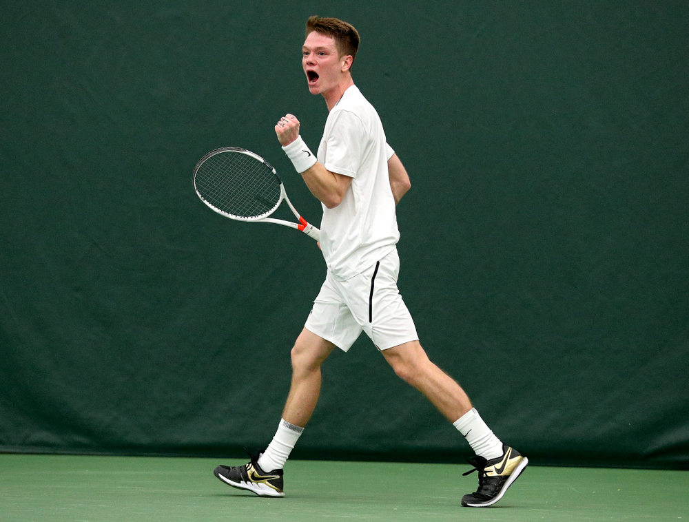Iowa's Jason Kerst celebrates a point during his singles match at the Hawkeye Tennis and Recreation Complex in Iowa City on Sunday, February 16, 2020. (Stephen Mally/hawkeyesports.com)
