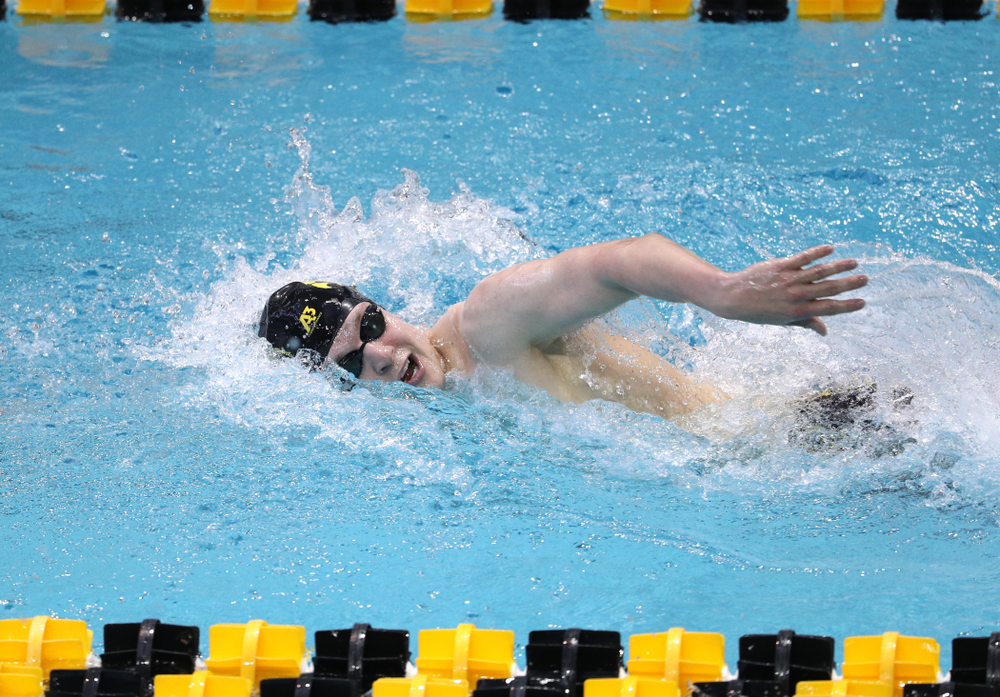 Iowa's Ben Colin swims in the preliminaries of the 500-yard freestyle during the 2019 Big Ten Swimming and Diving Championships Thursday, February 28, 2019 at the Campus Wellness and Recreation Center. (Brian Ray/hawkeyesports.com)