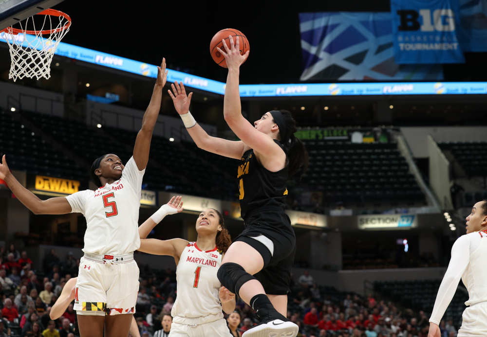 Iowa Hawkeyes forward Megan Gustafson (10) against the Maryland Terrapins Sunday, March 10, 2019 at Bankers Life Fieldhouse in Indianapolis, Ind. (Brian Ray/hawkeyesports.com)