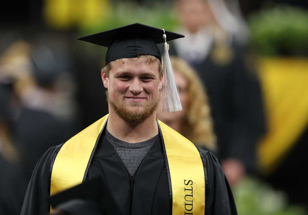 Hawkeye FootballÕs Jake Newborg during the College of Liberal Arts and Sciences spring commencement Saturday, May 11, 2019 at Carver-Hawkeye Arena. (Brian Ray/hawkeyesports.com)