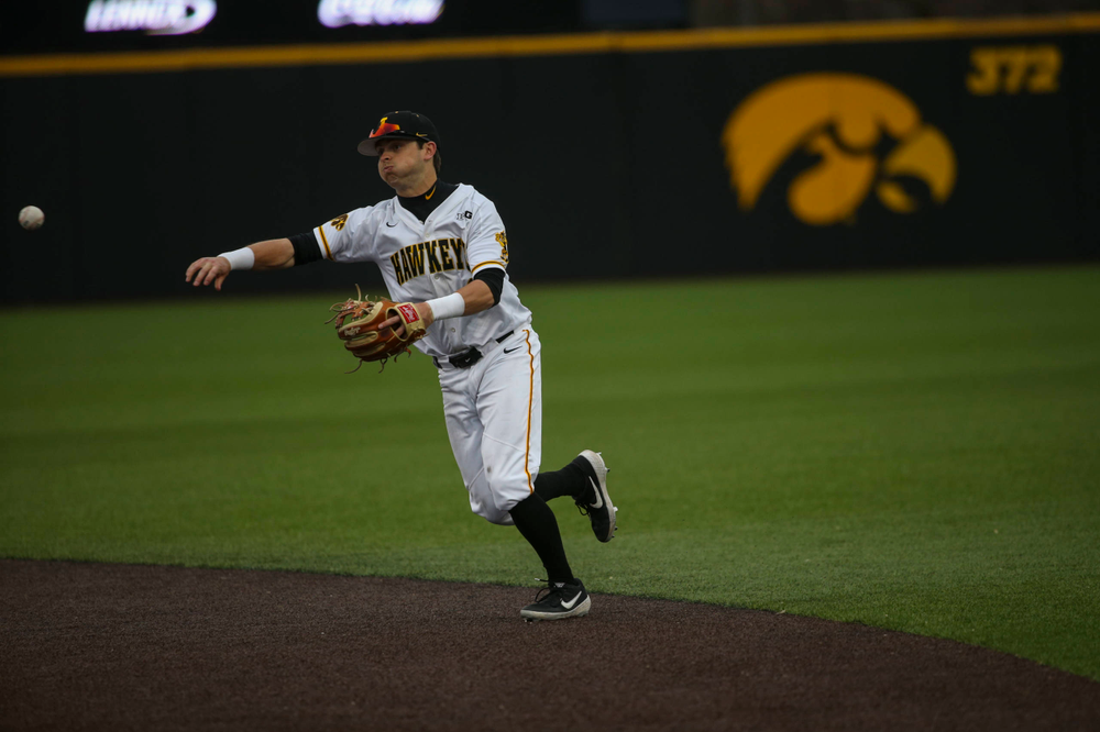 Iowa infielder Mitchell Boe  at game 1 vs Illinois on Friday, March 29, 2019 at Duane Banks Field. (Lily Smith/hawkeyesports.com)