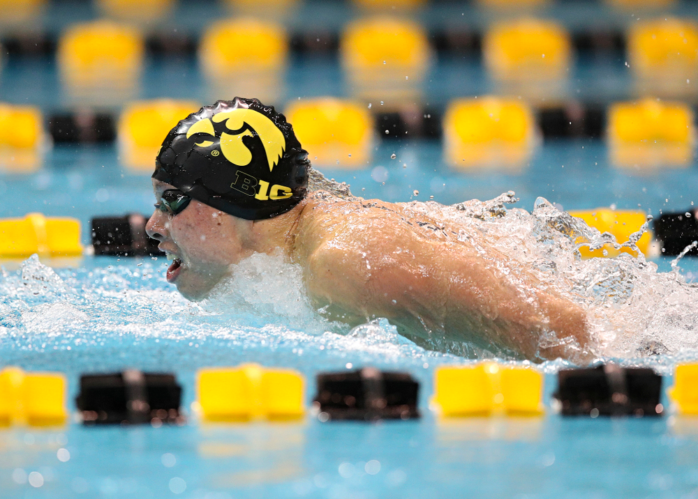 Iowa's Mateus Arndt swims the men's 100 yard butterfly event during their meet at the Campus Recreation and Wellness Center in Iowa City on Friday, February 7, 2020. (Stephen Mally/hawkeyesports.com)