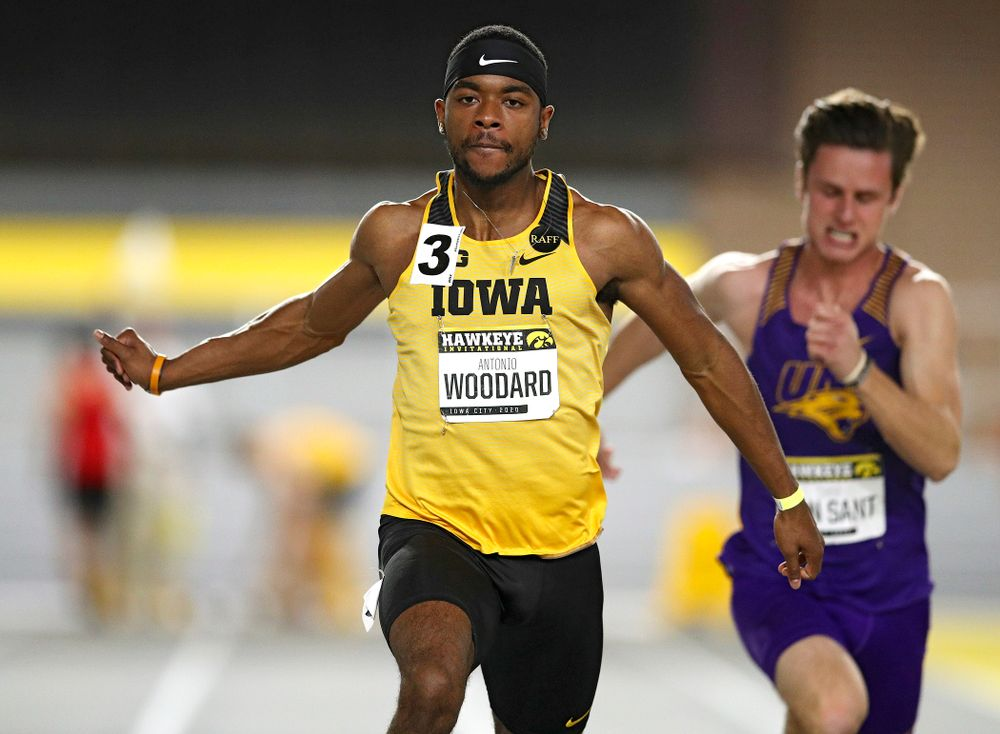 Iowa's Antonio Woodard runs in the men's 60 meter dash prelim event during the Hawkeye Invitational at the Recreation Building in Iowa City on Saturday, January 11, 2020. (Stephen Mally/hawkeyesports.com)