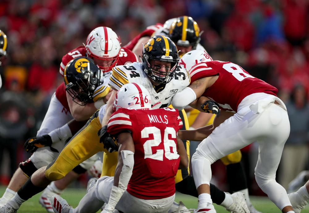 Iowa Hawkeyes linebacker Kristian Welch (34) against the Nebraska Cornhuskers Friday, November 29, 2019 at Memorial Stadium in Lincoln, Neb. (Brian Ray/hawkeyesports.com)