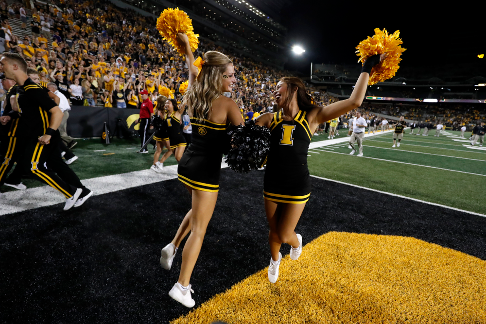 The Iowa Cheerleaders against the Northern Iowa Panthers Saturday, September 15, 2018 at Kinnick Stadium. (Brian Ray/hawkeyesports.com)