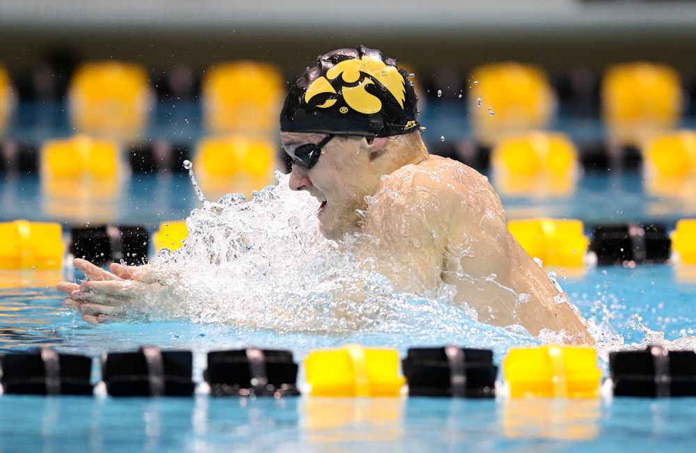 Iowa's Daniel Swanepoel swims the breaststroke section in the men's 400 yard medley relay event during their meet at the Campus Recreation and Wellness Center in Iowa City on Friday, February 7, 2020. (Stephen Mally/hawkeyesports.com)