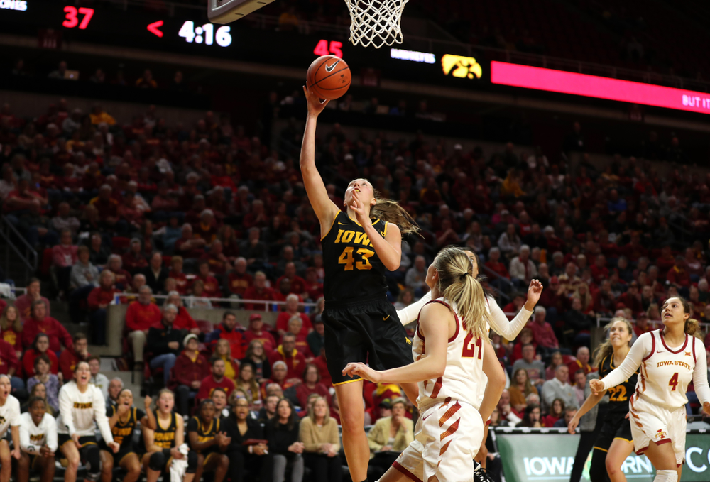 Iowa Hawkeyes forward Amanda Ollinger (43) against the Iowa State Cyclones Wednesday, December 11, 2019 at Hilton Coliseum in Ames, Iowa(Brian Ray/hawkeyesports.com)